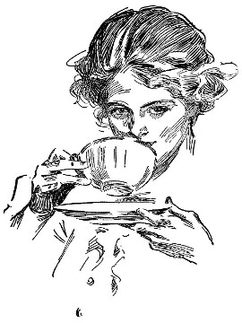 Happy thoughts in this artist drawing of a woman from the early nineteen hundreds sipping a steaming cup of tea, Organic Teas Canada dot com offers an extensive selection of organic and fair trade Black Teas, Green and White Teas, Red Teas, organic spices and fresh and fragrant organic herbs.