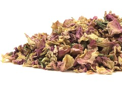 Fragrant pink rose petals are pictured on a crisp white background.  The quality of the OrganicTeasCanada.com product is evident in this display of organic, non-iradiated, non-sulphited superior botanical material.  Truly natural herbs and spices without chemicals.
