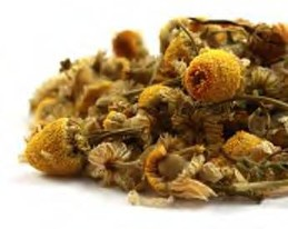 Bright and vibrant golden organic dried chamomile flowers contrast a white background.  Organic Teas Canada presents exceptional chamomile which makes a relaxing, delicious cup of tea.