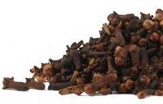 Organic whole cloves are displayed in a striking contrast to crisp white as one of almost 40 organic spices offered by Organic Teas Canada.