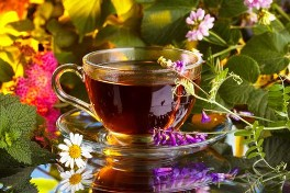 A lovely bright and colourful display of herbal tea in a glass cup with saucer reflecting from a glass table top with beautiful fresh herbs displayed in pink, green, white and yellow.  Organic Teas Canada dot com offers fresh and fragrant organic dried herbal tea for your brewing enjoyment.