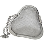 Organic Teas Canada stainless steel heart shaped tea and spice infuser.  Clamp-style, well built, hook hangs over cup or pot.  Perfect gift item with loose leaf tea for someone you are sweet on.