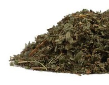 Strawberry leaves are fresh dried to create this lovely green herbal offering pictured on a white backdrop.  Herbs offered by Organic Teas Canada are carefully analyzed for quality and are not genetically modified or irradiated.