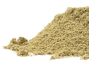 A light coloured beigy-green fennel seed powder is pictured in a pile on a white background.  Another wonderful fresh dried organic herb and spice from Organic Teas Canada dot com.